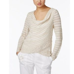 INC Petite Striped Cowl-Neck Crossover Sweater, PS